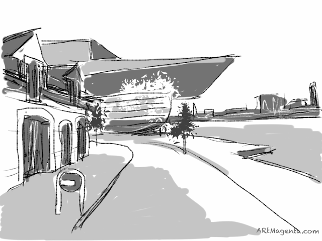 Copenhagen Opera Houste. A sketch drawn on iPad by Artmagenta.