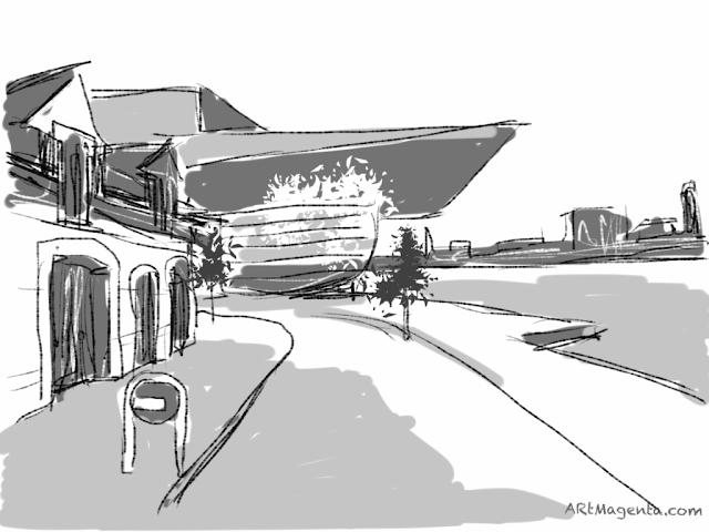 Copenhagen Opera Houste. A sketch drawn on iPad by Artmagenta.