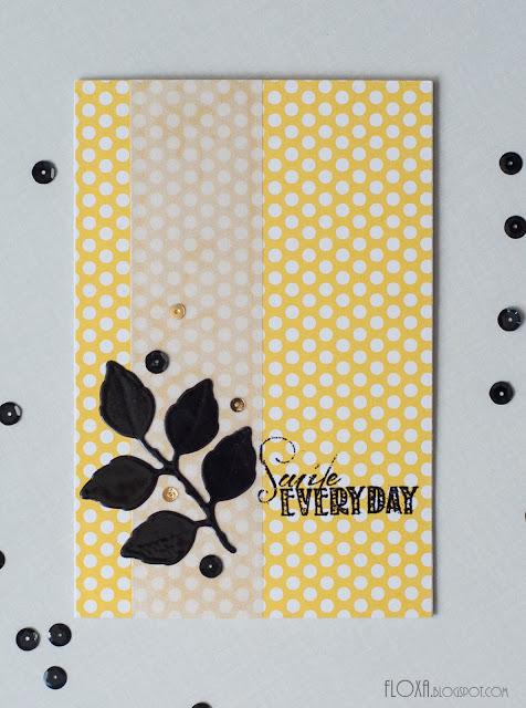 желтый черный эмбоссинг, открытка скрапбукинг стиль