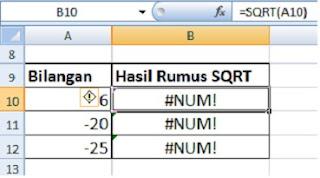 contoh penggunaan rumus SQRT bilangan negatif