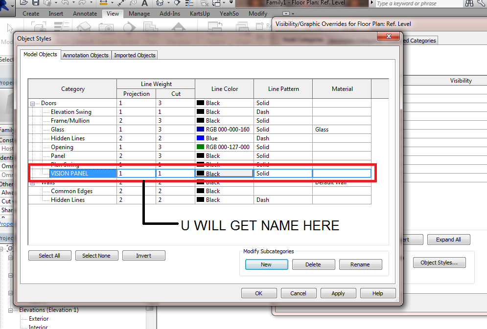 how to change line weights for property line in revit