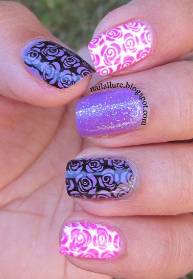 Lilac & Pink Roses Manicure