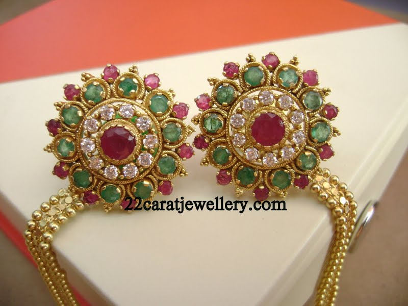 Gold Gemstone Tops (earrings) and Ear Chains - Jewellery Designs