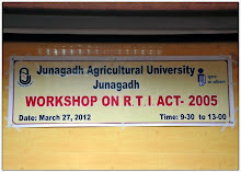 RTI ACT-2005 Workshop Held at JAU, Junagadh Agricultural University  on Dt.27 March, 2012