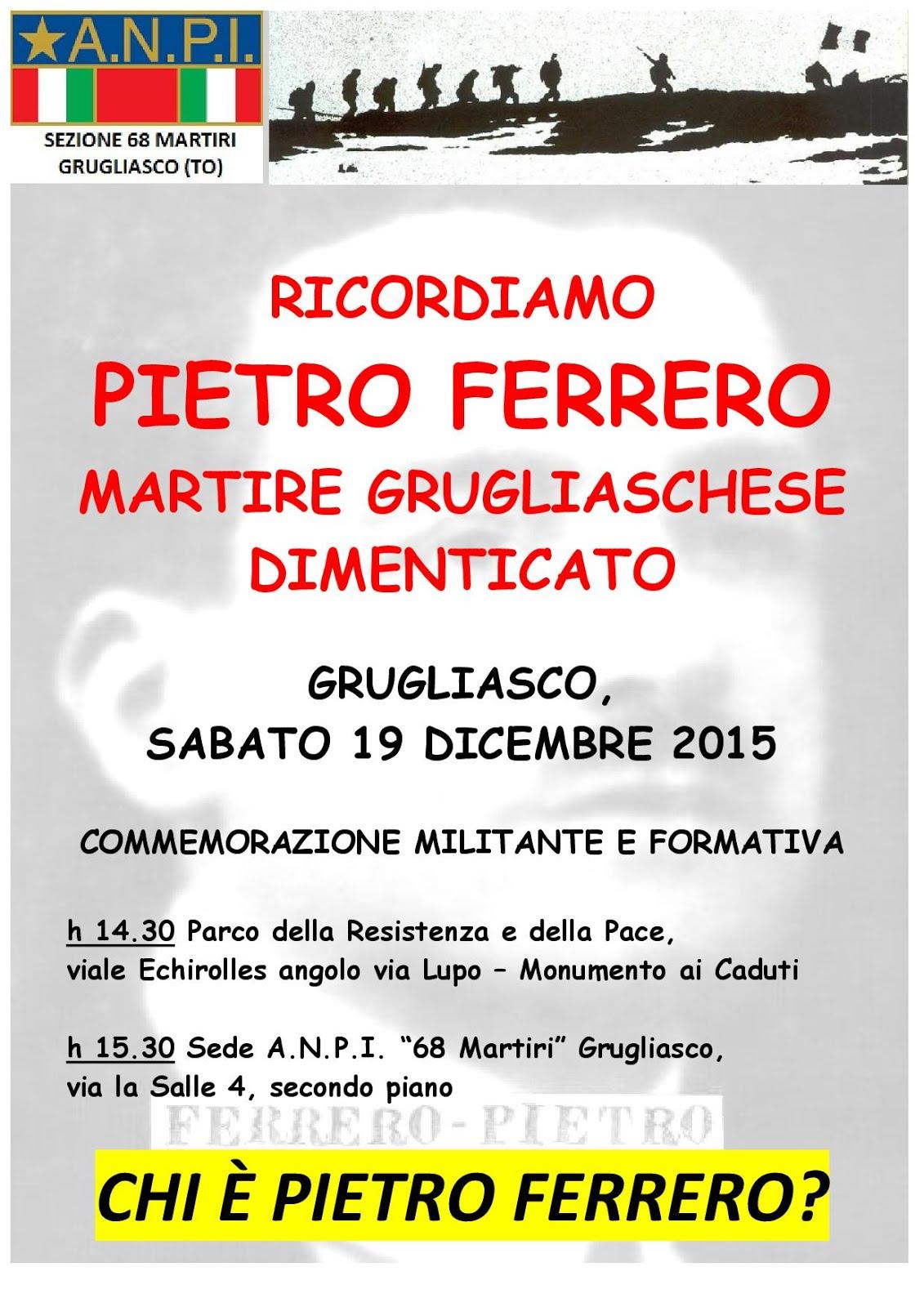 Ricordiamo Pietro Ferrero, Martire Grugliaschese dimenticato