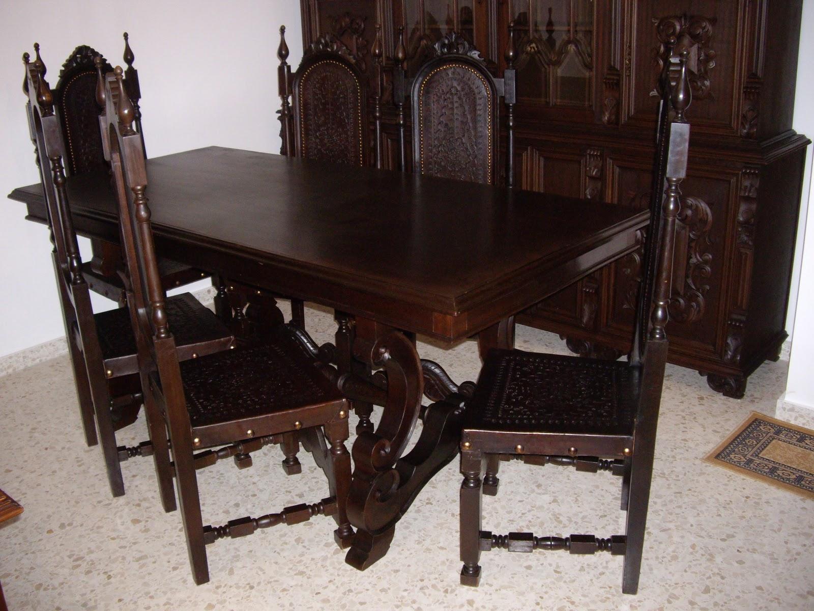 Antiguedades: Muebles de salon Antiguo con mesa de comedor y 8 ...