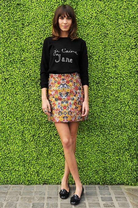 alexa chung celine floral skirt