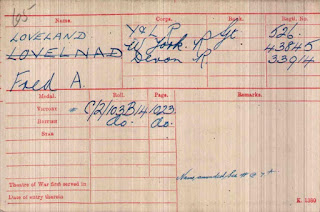 WW1 Medal card for Fred A Loveland - described below