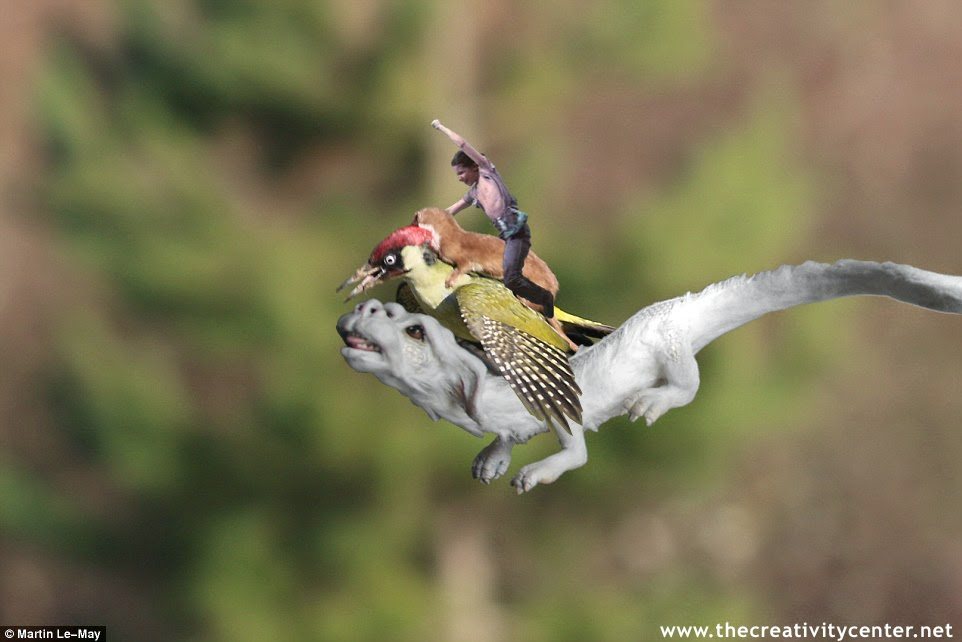 Atreyu riding a Weasel riding a Woodpecker riding Falkor