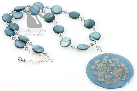 Embossed Indigo Blue Mother of Pearl Beaded Necklace (N059)