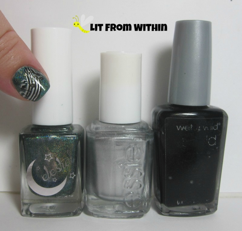 Bottle shot:  Celestial Cosmetics Galaxy Field, Essie No Place Like Chrome, and Wet 'n Wild Black Creme.