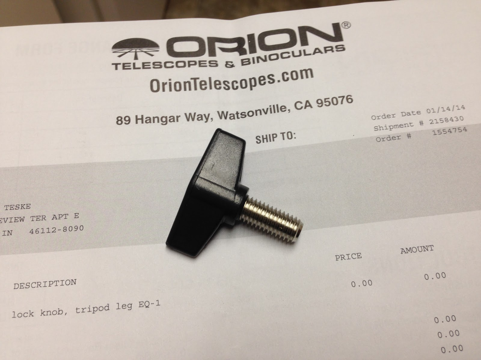 orion mount leg lock knob screw