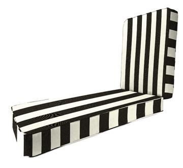 Copy cat chic pottery barn black and white striped chaise for Black and white striped chaise lounge cushions