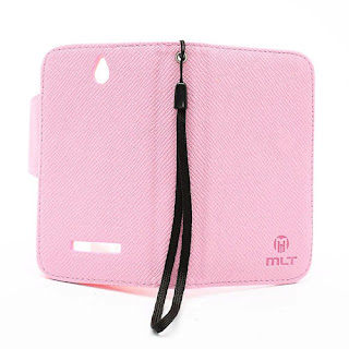 Leather Case Wallet Credit Card Slot Sony Xperia E C1504 C1505, E Dual C1604 C1605 - Baby Pink