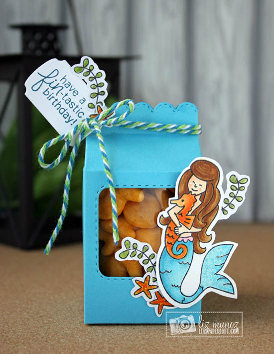 Mermaid Treat container by Guest Designer Liz Munoz  | Mermaid Crossing Stamp set  #newtonsnook #mermaid