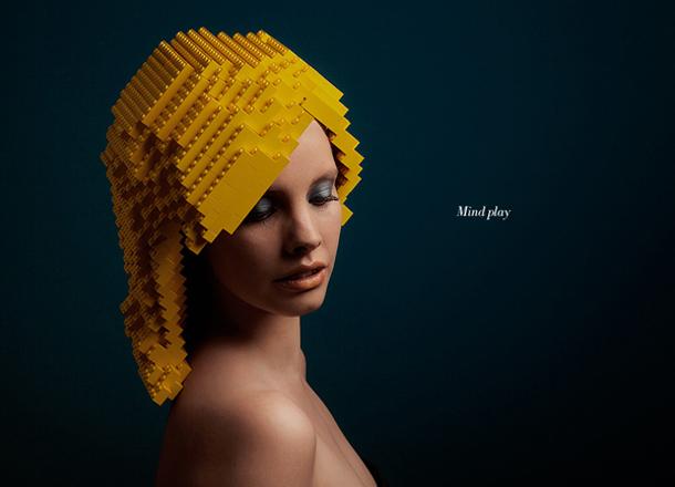 Mindplay: Bricks on Me - penteados de Lego em produção de moda - Elroy Klee
