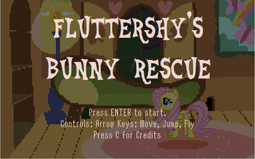 Fluttershy's Bunny Rescue title screen.