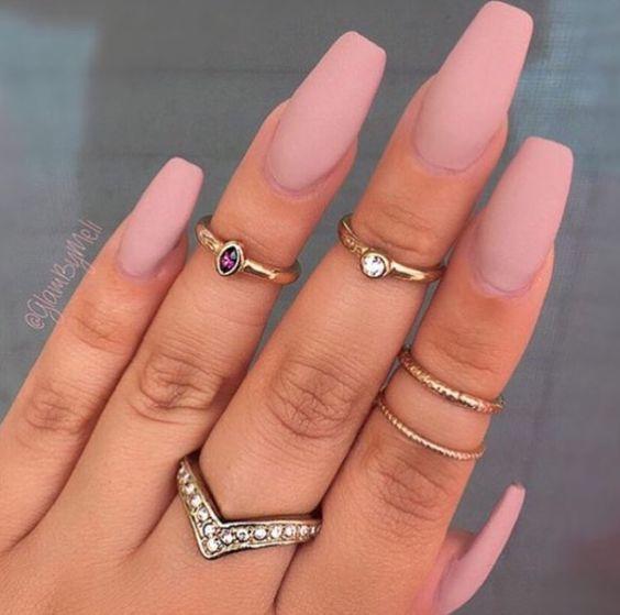 gorgeous pastel pink matte nails