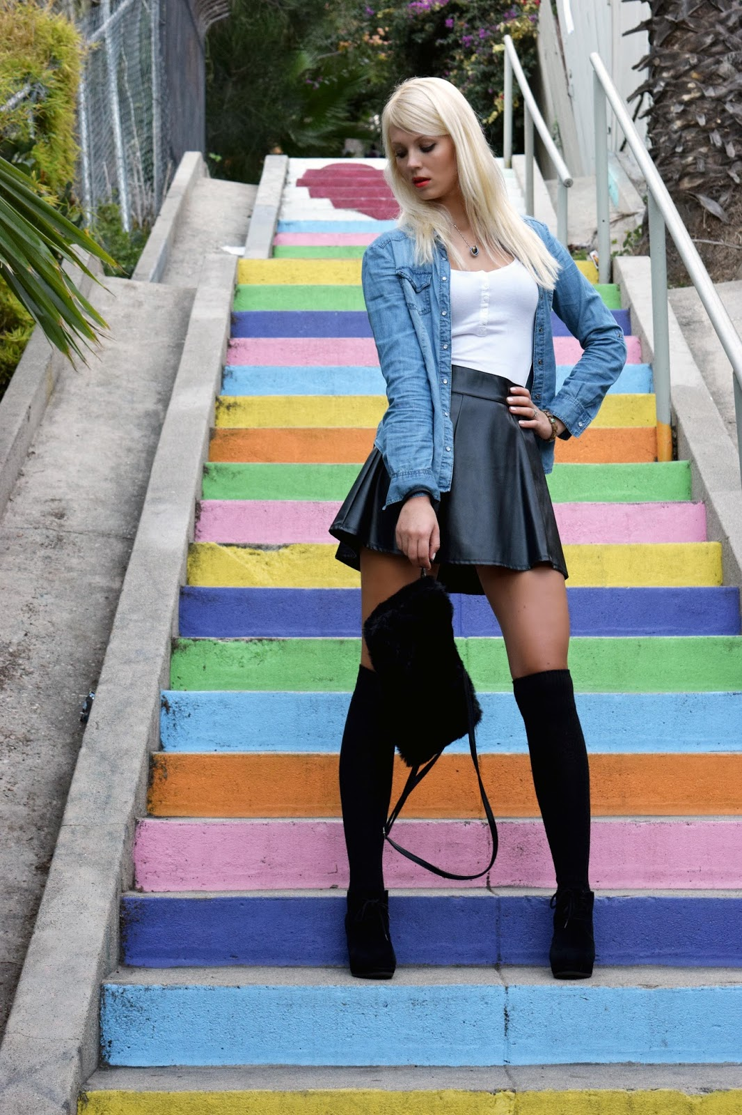 Over knee socks, over knee, denim shirt, leather skirt