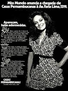 casas Pernambucanas, miss mundo 1971,  os anos 70; propaganda na década de 70; Brazil in the 70s, história anos 70; Oswaldo Hernandez;
