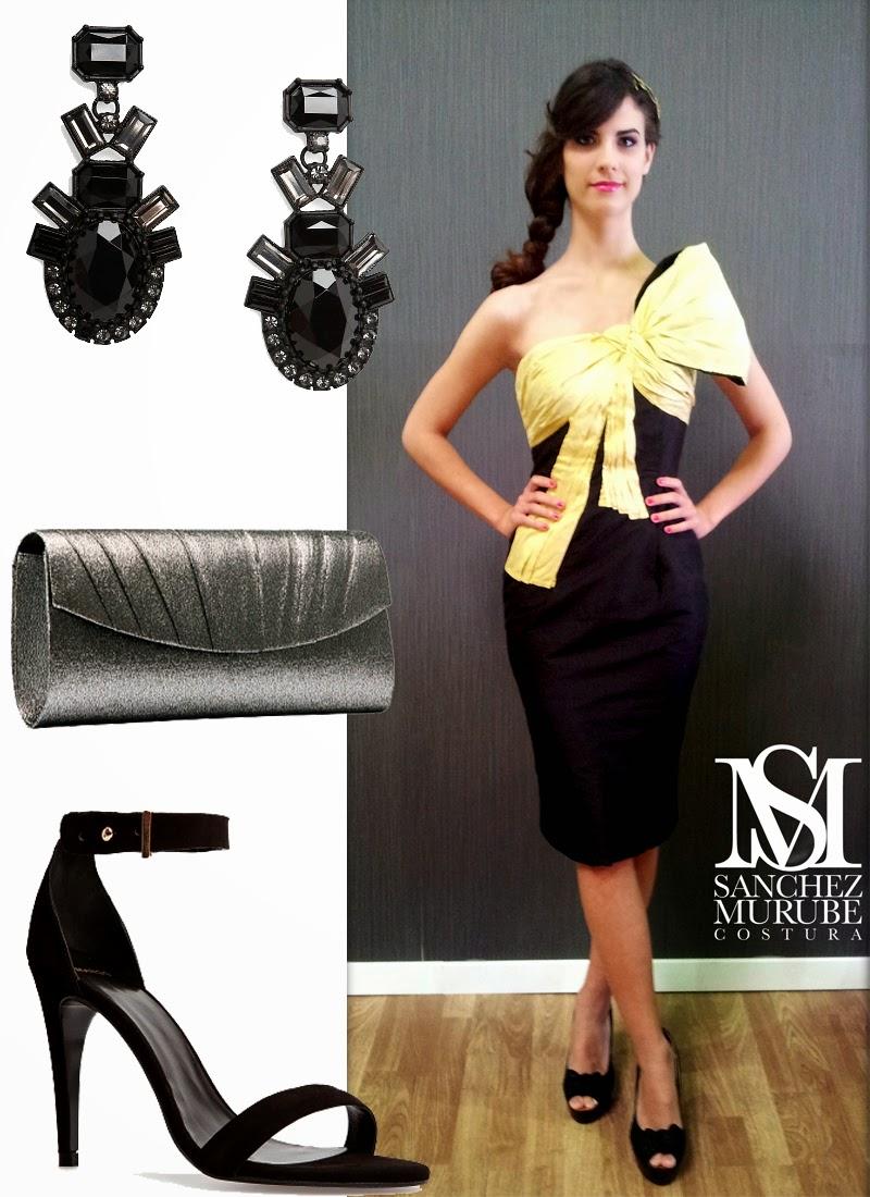 Vestido amarillo con negro