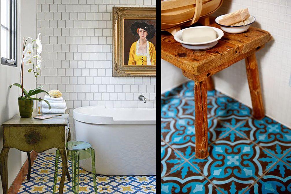 La fabrique d co choisir un carrelage original pour sa - Salle de bain jaune et bleu ...