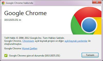 Google chrome 18 güncelleme işlemleri 3