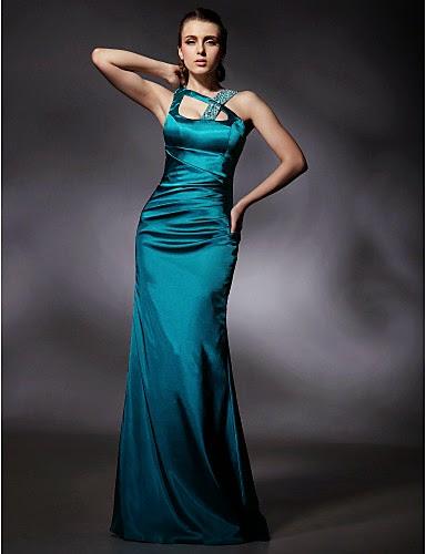 Vestido de noche de satén verde NETA