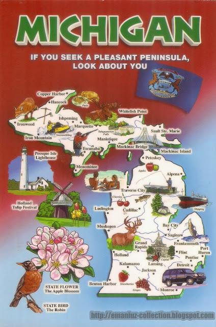 Mapcard   United States of America   Michigan