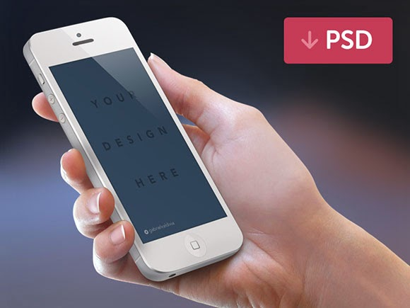 iPhone + hand PSD mockup