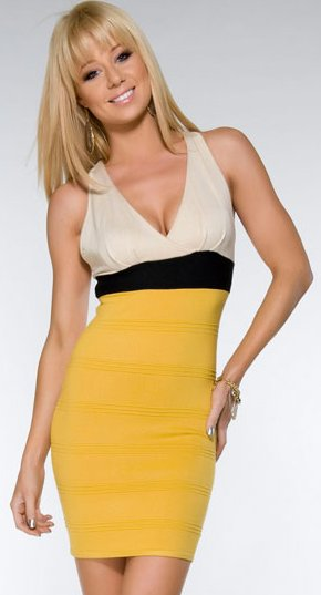 Plunge Neck Strappy Back Bandage Dress