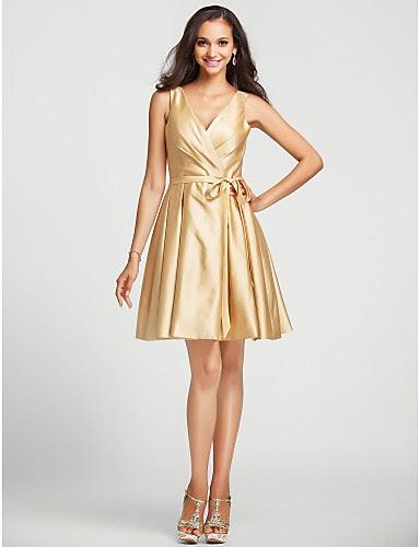 Vestido Dorado Corto de Dama de Honor