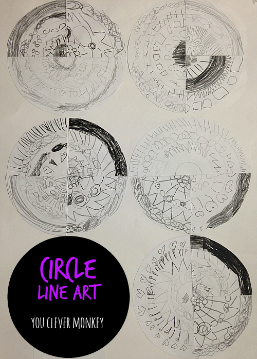 Circle Line Art - exploring different lines and 2D shape in one easy art project. Visit www.youclevermonkey.com for more
