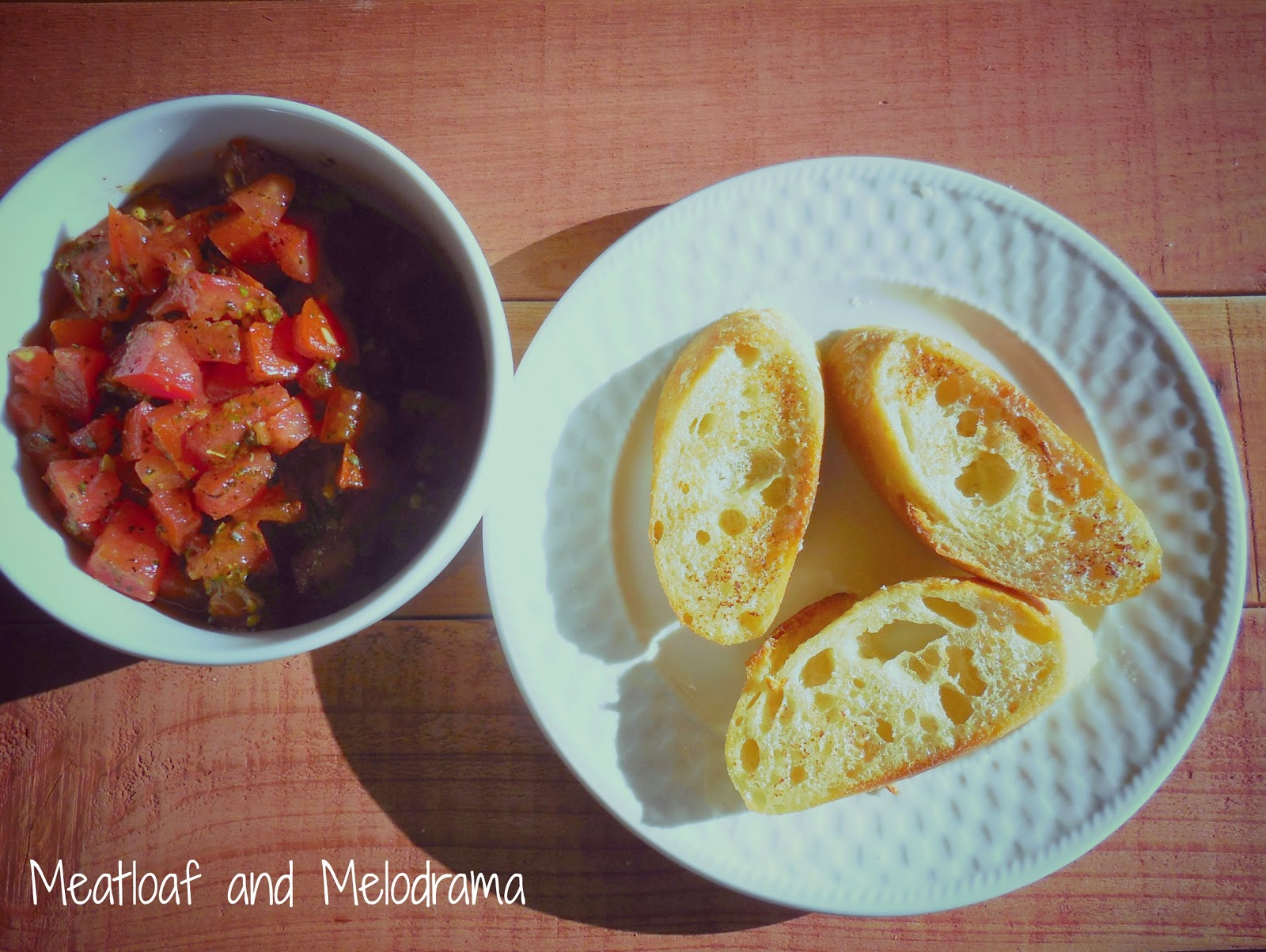 marinated tomatoes and toasted bread