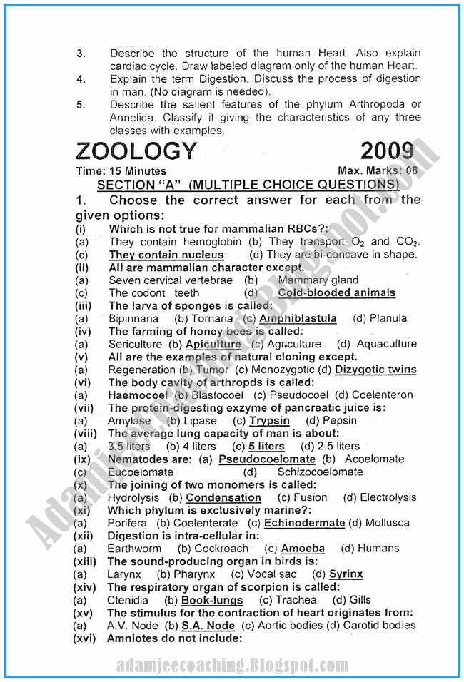 Zoology-2009-past-year-paper-class-XI