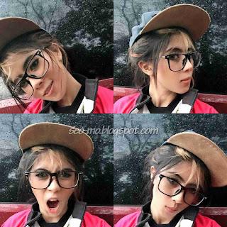 Foto Indri Barbie Cantik Pakai Topi dan Kacamata