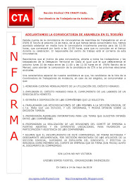 ADELANTAMOS LA CONVOCATORIA DE ASAMBLEA EN EL TORUÑO