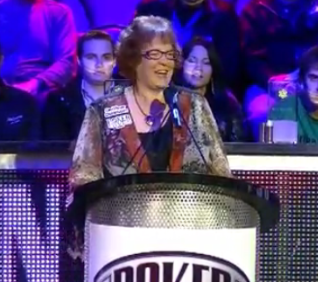 Linda Johnson being inducted into the 2011 Poker Hall of Fame