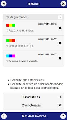 Pantalla del historial de la aplicación Test de los colores