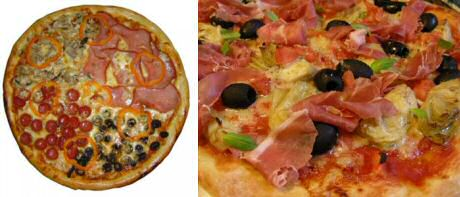 Zelf pizza maken: links pizza quattro stagioni en rechts pizza capricciosa