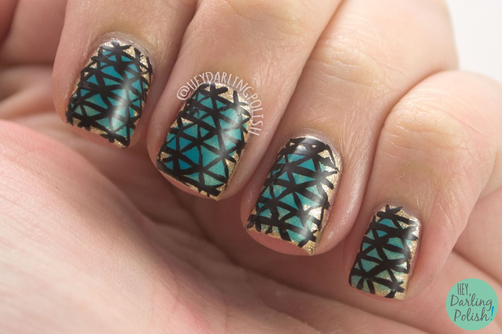 nails, nail art, nail polish, triangle, geometric, hey darling polish, gold, blue, the nail challenge collaborative