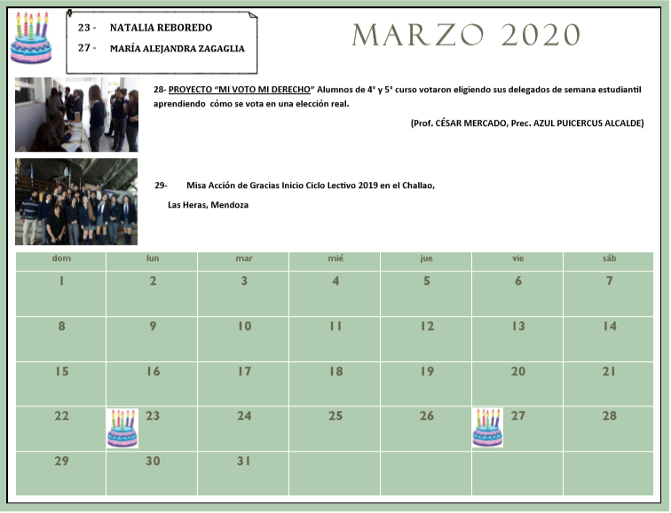 CALENDARIO 2020  HISTORIAL 2019