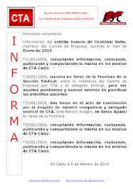 C.T.A. INFORMA CRÉDITO HORARIO CRISTOBAL NIETO, ENERO 2019