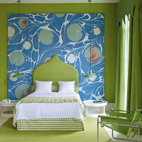 blue and green eclectic bedroom with hang lightings