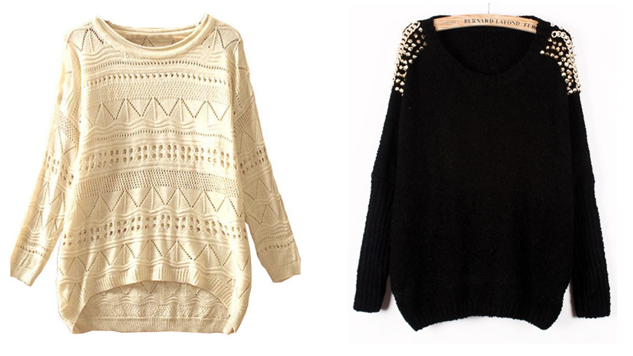 Sweater bege e sweater preto.