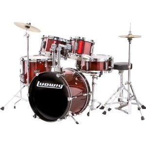 Ludwig Junior 5 Piece Drum Set with Cymbals (Wine Red ...