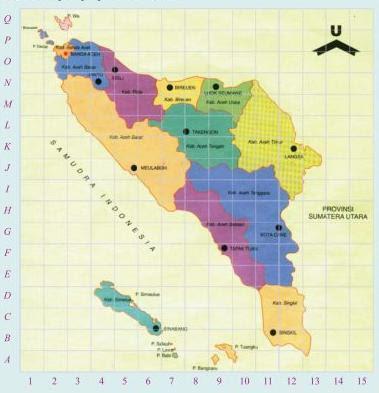 Soal Matematika SD Kelas 6 - Koordinat Letak Tempat pada Peta