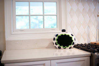 Black Dot Cookie Jar with Blackboard Attachment