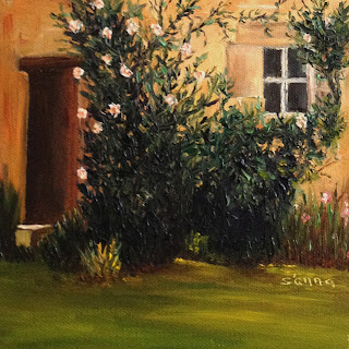 Oil painting of an Italian country home