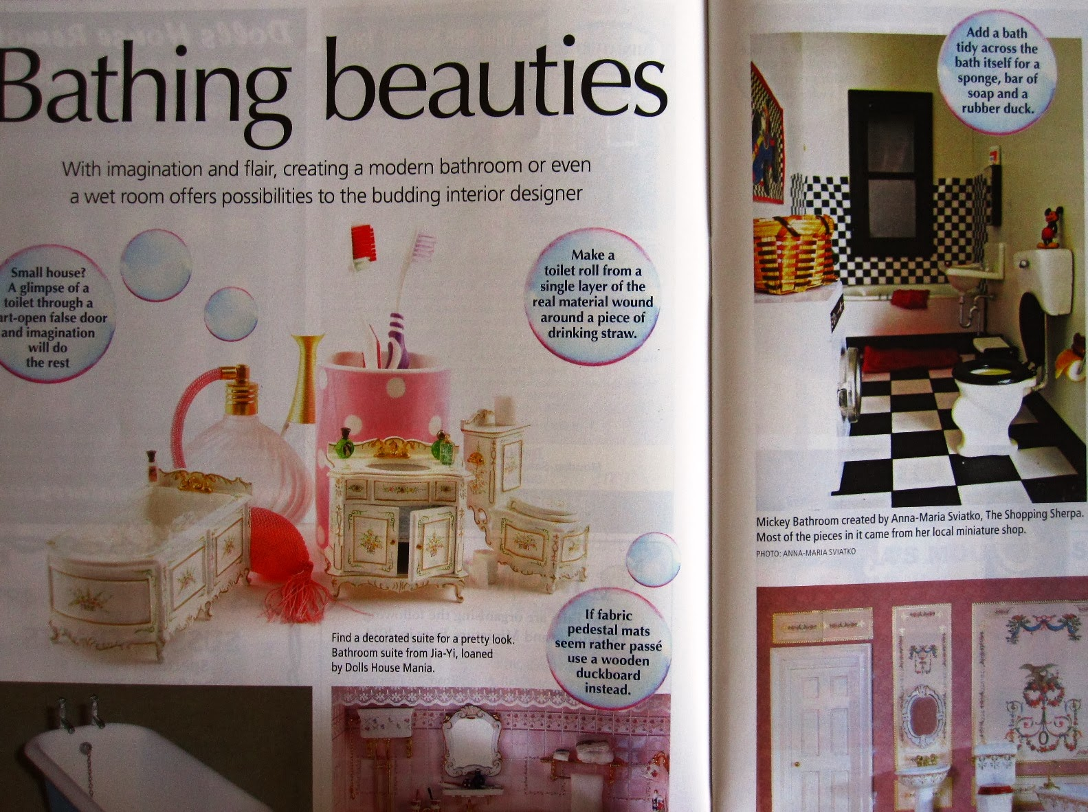 Bathing beauties article in The Dolls' House Magazine's January issue, including my Mickey bathroom